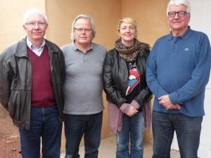 Les créateurs du Musée Jean-Claude D'Halluin, Daniel Avet, Pierre Winckelmans, et la président de l'ESCAL, Elysa D'Alessandro